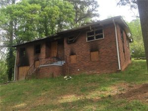 Fire damaged house in Atlanta